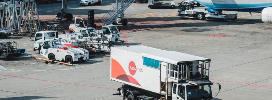lorry in an airport collecting goods