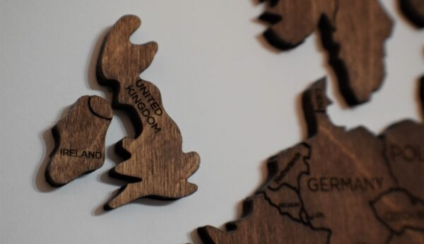 wooden map showing united kingdom